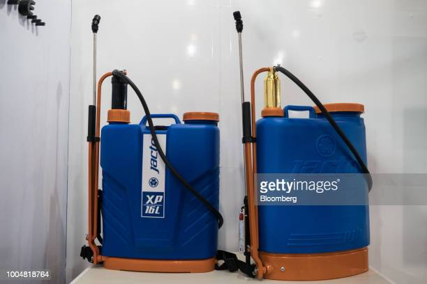Jacto Inc backpack sprayers sit on display in the exhibition pavilion during La Exposicion Rural agricultural and livestock show in the Palermo...