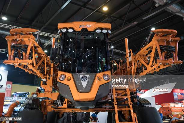 A Jacto Inc field sprayer sits on display at the exhibition pavilion during La Exposicion Rural agricultural and livestock show in the Palermo...
