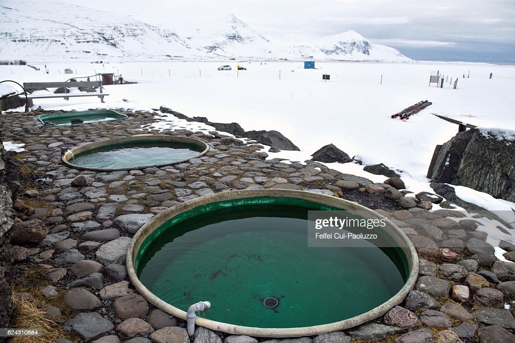 Jacuzzis at Hoffell of Iceland : Stock Photo