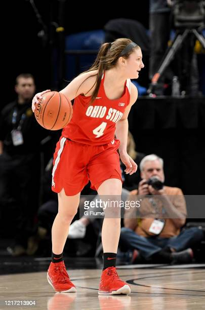 Jacy Sheldon of the Ohio State Buckeyes handles the ball against the Maryland Terrapins during the Championship game of Big Ten Women's Basketball...