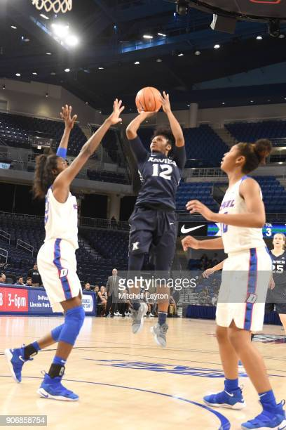 Jada Byrd of the Xavier Musketeers takes a jump shot during a women's college basketball game against the DePaul Blue Demons at Wintrust Arena on...
