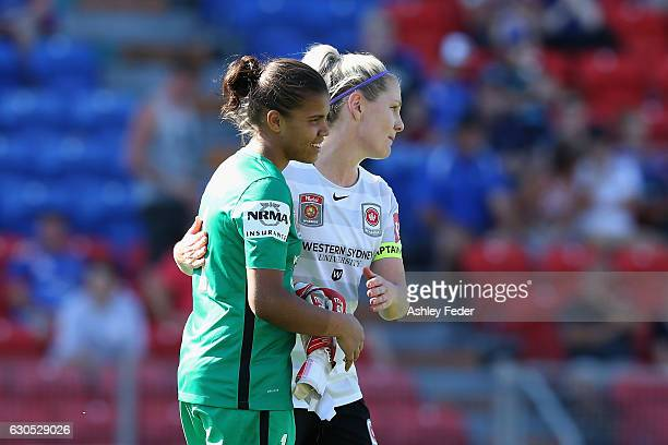 Jada MathyssenWhyman and Caitlin Cooper of the Wanderers celebrate the win during the round eight WLeague match between Newcastle and Western Sydney...