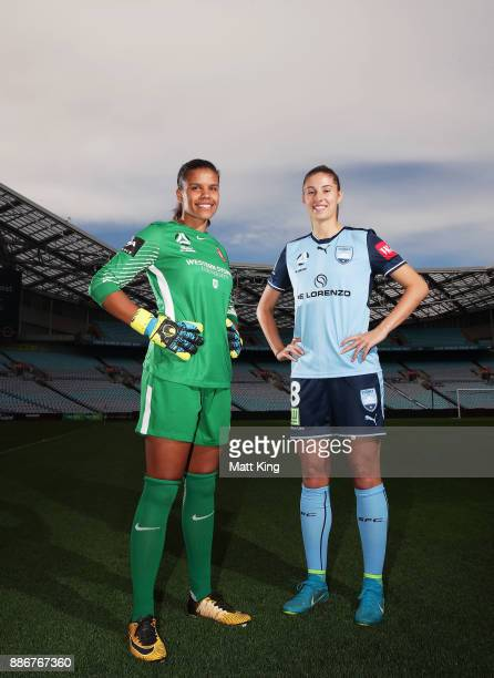 Jada MathyssenWhyman of the Wanderers and Amy Harrison of Sydney FC pose during a joint Sydney FC and Western Sydney Wanderers ALeague media...