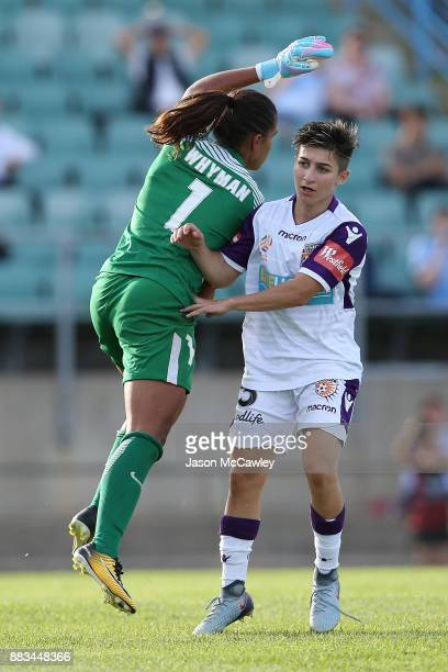 Jada MathyssenWhyman of the Wanderers collides with Patricia Charalambous of the Glory during the round six WLeague match between the Western Sydney...
