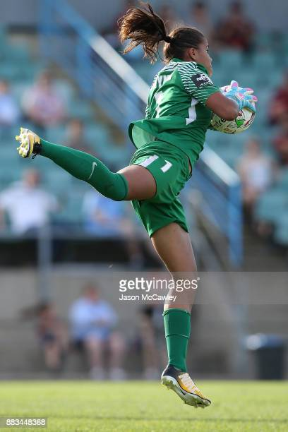 Jada MathyssenWhyman of the Wanderers makes a save during the round six WLeague match between the Western Sydney Wanderers and the Perth Glory at...