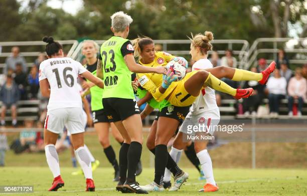 Jada MathyssenWhyman of the Wanderers makes a save during the round 11 WLeague match between Canberra United and the Western Sydney Wanderers at...