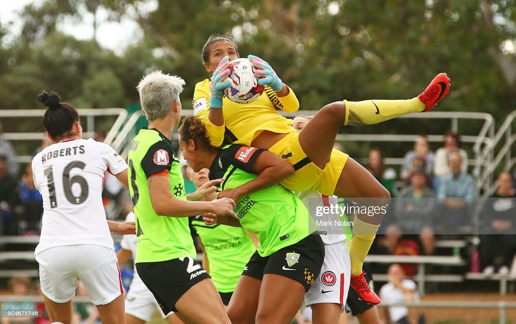Jada Mathyssen-Whyman of the Wanderers makes a save during the round 11 W-League match between Canberra United and the Western Sydney Wanderers at McKellar Park on January 14, 2018 in Canberra, Australia.