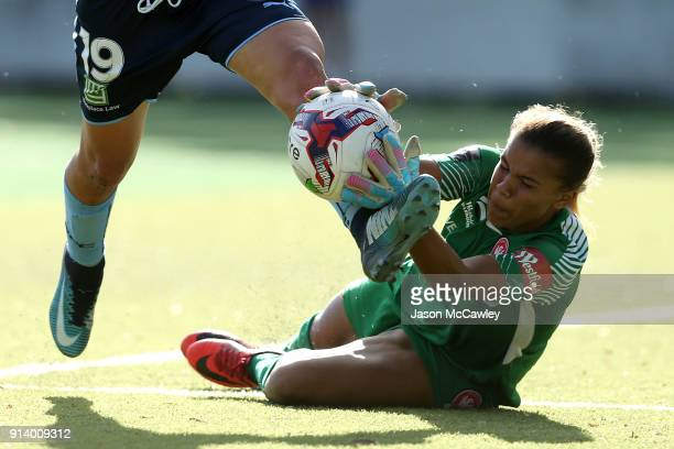 Jada MathyssenWhyman of the Wanderers makes a save during the round 14 WLeague match between Sydney FC and the Western Sydney Wanderers at Seymour...