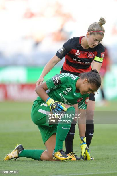 Jada MathyssenWhyman of the Wanderers shows her dejection after letting through a goal during the WLeague match between the Western Sydney Wanderers...