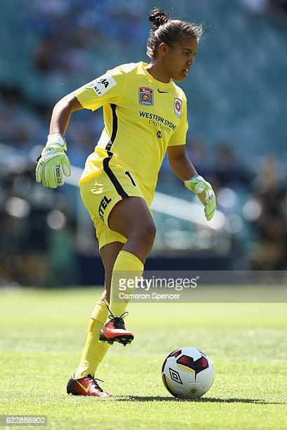 Jada MathyssenWhyman of the Wanderers stops the ball during the round two WLeague match between Sydney FC and the Western Sydney Wanderers at Allianz...