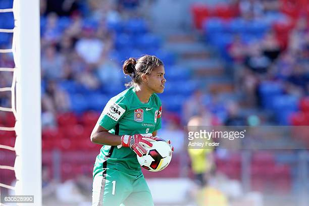 Jada MathyssenWhyman of the Wanderers throws out from goal during the round eight WLeague match between Newcastle and Western Sydney at McDonald...