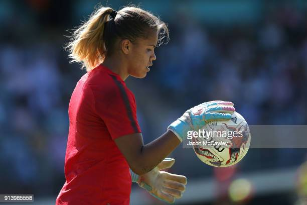Jada MathyssenWhyman of the Wanderers warms up prior to the round 14 WLeague match between Sydney FC and the Western Sydney Wanderers at Seymour Shaw...