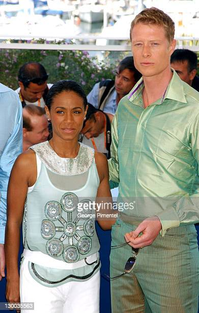 Jada Pinkett and Neil Rayment during 2003 Cannes Film Festival 'Matrix Reloaded' Photo Call at Palais des Festivals in Cannes France