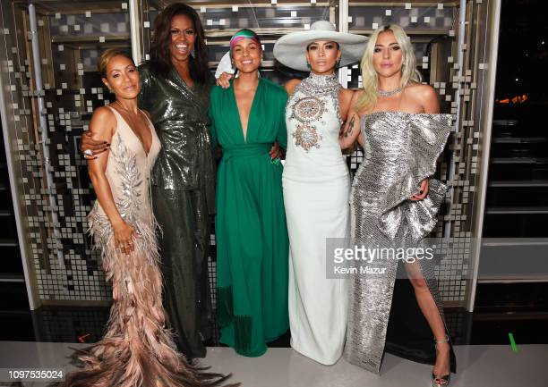 Jada Pinkett Michelle Obama Alicia Keys Jennifer Lopez and Lady Gaga backstage during the 61st Annual GRAMMY Awards at Staples Center on February 10...