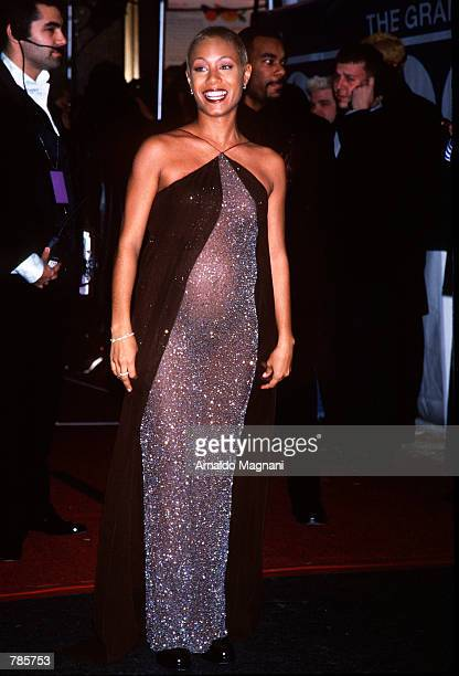 Jada Pinkett seen here pregnant arrives at the Grammy Awards in New York City February 25 1998