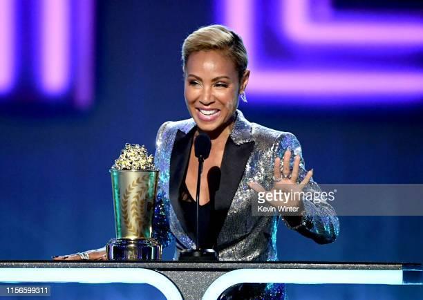Jada Pinkett Smith accepts the MTV Trailblazer Award onstage during the 2019 MTV Movie and TV Awards at Barker Hangar on June 15 2019 in Santa Monica...