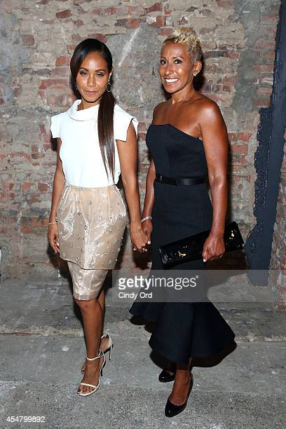Jada Pinkett Smith and Adrienne Banfield pose backstage at the Christian Siriano fashion show during MercedesBenz Fashion Week Spring 2015 at Eyebeam...
