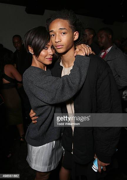 Jada Pinkett Smith and Jaden Smith attend the after party for a screening Of Columbia Pictures' 'Concussion' on November 23 2015 in Westwood...