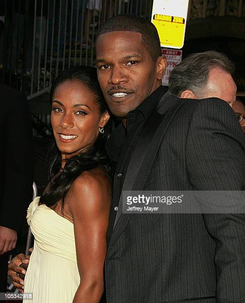 Jada Pinkett Smith and Jamie Foxx during Collateral Los Angeles Premiere Arrivals at Orpheum Theatre in Los Angeles California United States