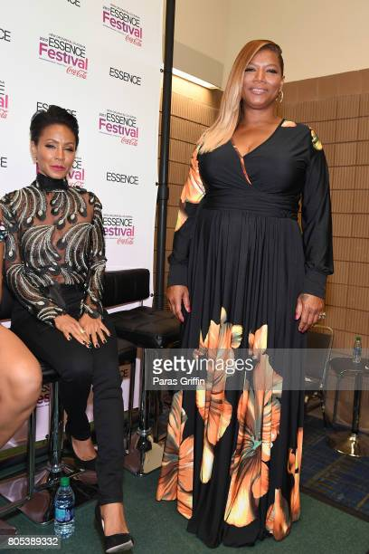 Jada Pinkett Smith and Queen Latifah pose in the press room at the 2017 ESSENCE Festival presented by CocaCola at Ernest N Morial Convention Center...