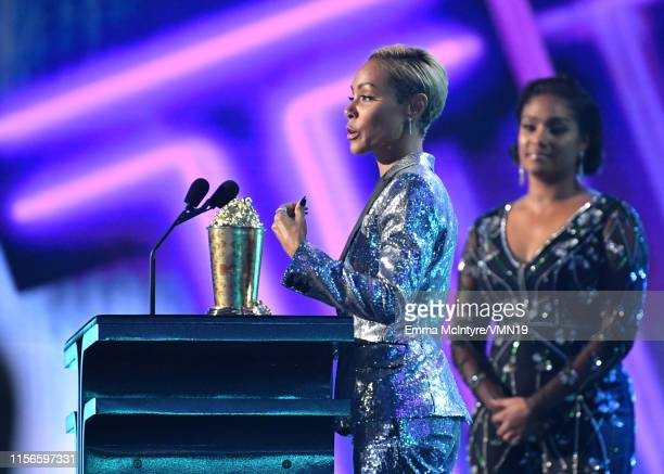 Jada Pinkett Smith and Tiffany Haddish speak onstage during the 2019 MTV Movie and TV Awards at Barker Hangar on June 15 2019 in Santa Monica...