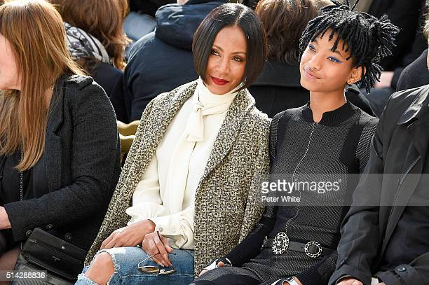 Jada Pinkett Smith and Willow Smith attend the Chanel show as part of the Paris Fashion Week Womenswear Fall/Winter 2016/2017 on March 8 2016 in...