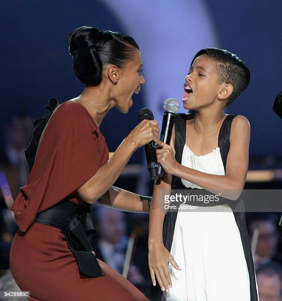Jada Pinkett Smith and Willow Smith sing on stage during the Nobel Peace Prize Concert at Oslo Spektrum on December 11 2009 in Oslo Norway Tonight's...