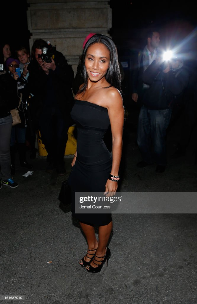 Jada Pinkett Smith arrives backstage at the Marchesa Fall 2013 fashion show during Mercedes-Benz Fashion Week at The New York Public Library on February 13, 2013 in New York City.