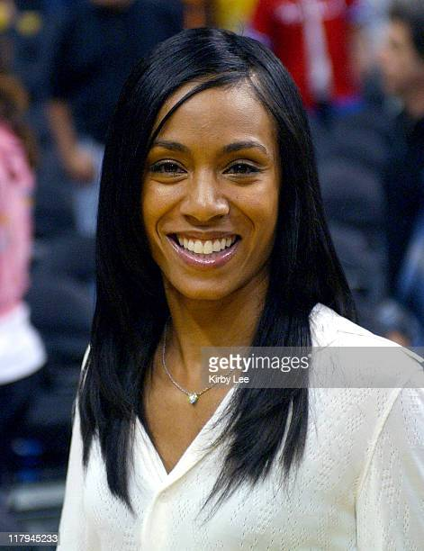 Jada Pinkett Smith at Los Angeles Lakers game against the Philadelphia 76ers at the Staples Center in Los Angeles Calif on Sunday March 27 2005