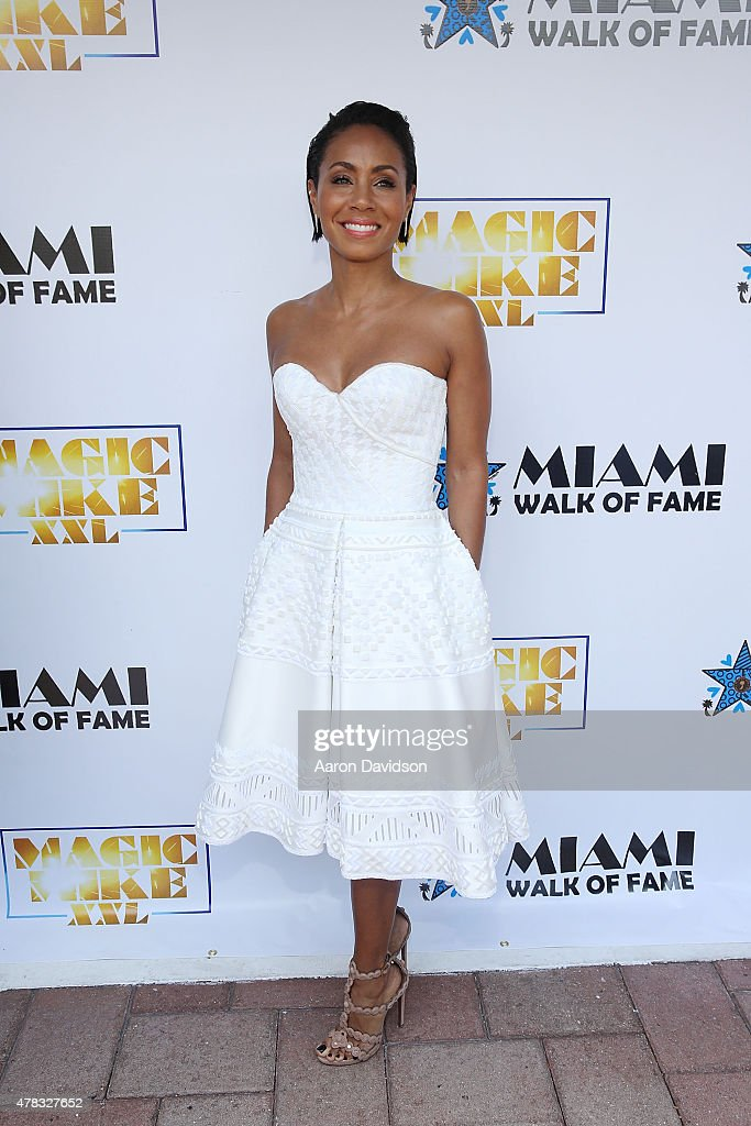 Jada Pinkett Smith attends as the 'Magic Mike XXL' cast are honored with stars on The Official Miami Walk Of Fame at Bayside Marketplace on June 24, 2015 in Miami, Florida.