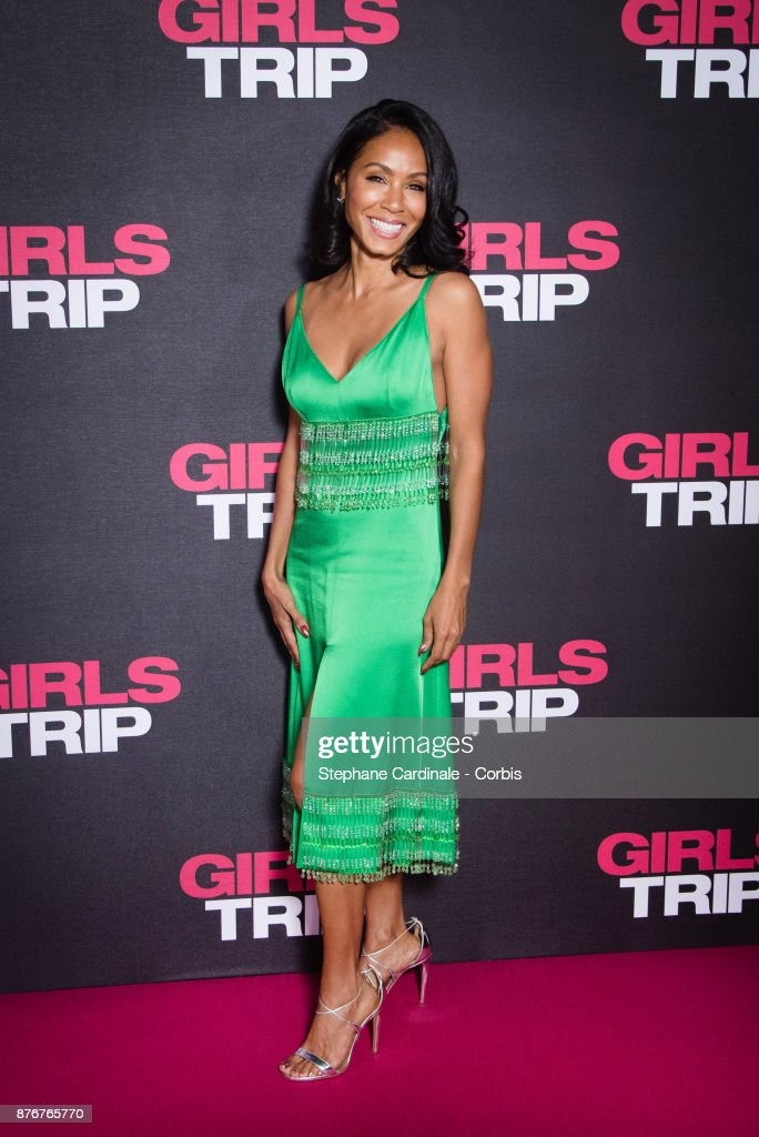 Jada Pinkett Smith attends the 'Girls Trip' Paris Premiere at UGC Cine Cite Bercy on November 20, 2017 in Paris, France.