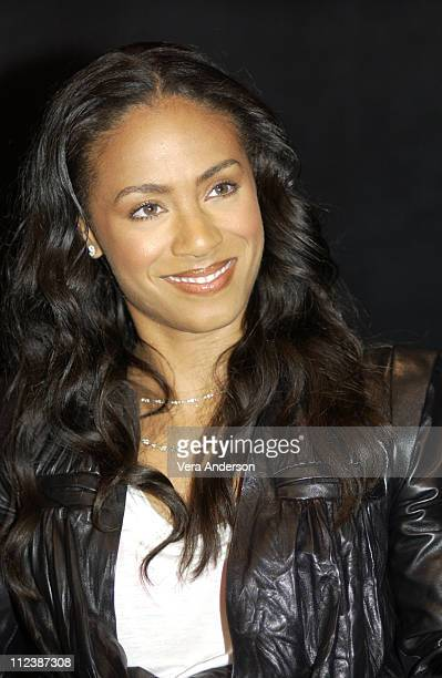 Jada Pinkett Smith during The Matrix Reloaded Press Conference with Keanu Reeves Jada Pinkett Smith CarrieAnne Moss Laurence Fishburne Monica...
