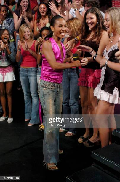Jada Pinkett Smith during Tom Cruise Jamie Foxx and Jada Pinkett Smith Visit MTV's TRL August 5 2004 at MTV Studios Times Square in New York City New...