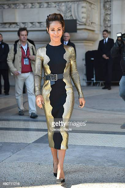 Jada Pinkett Smith is seen leaving the Guy Laroche Fashion Show during the Paris Fashion Week - Ready To Wear S/S 2016 : Day Two on September 30,...