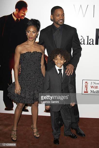 Jada Pinkett Smith Jaden Smith and Will Smith during 'The Pursuit of Happyness' Paris Premiere at UGC Normandie in Paris France