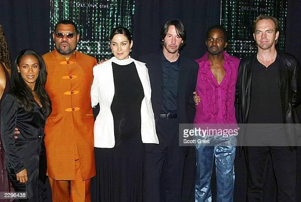Jada Pinkett Smith Laurence Fishburne CarrieAnne Moss Keanu Reeves Harold Perrineau Jr and Hugo Weaving arrive at the New York premiere of The Matrix...