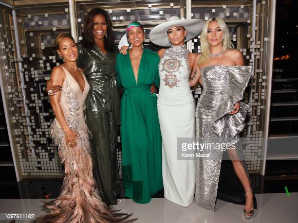 Jada Pinkett Smith Michelle Obama Alicia Keys Jennifer Lopez and Lady Gaga backstage during the 61st Annual GRAMMY Awards at Staples Center on...