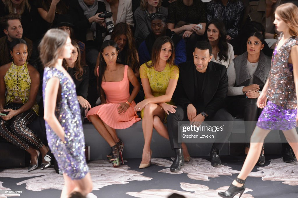 Jada Pinkett Smith, model Chrissy Teigen, singer John Legend, and Rachel Roy attend the Vera Wang Fall 2013 fashion show during Mercedes-Benz Fashion Week at The Stage at Lincoln Center on February 12, 2013 in New York City.