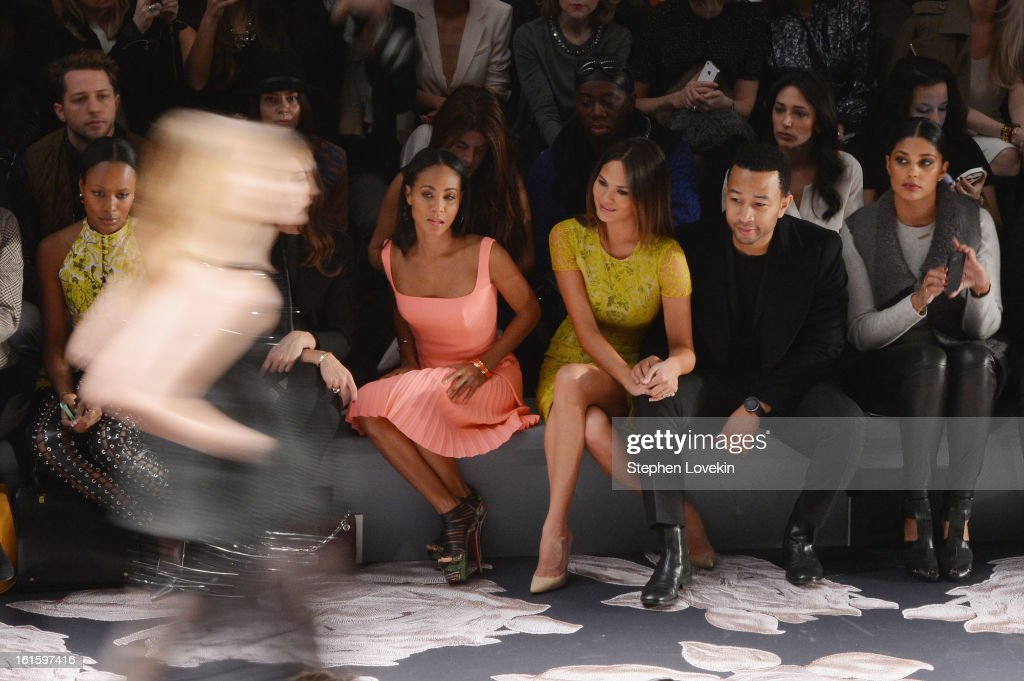 Jada Pinkett Smith, model Chrissy Teigen, singer John Legend, and Rachel Roy attends the Vera Wang Fall 2013 fashion show during Mercedes-Benz Fashion Week at The Stage at Lincoln Center on February 12, 2013 in New York City.