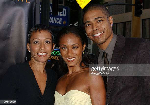 Jada Pinkett Smith mom Adrienne and brother during 'Collateral' Los Angeles Premiere Arrivals at Orpheum Theatre in Los Angeles California United...