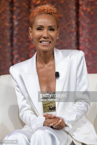 Jada Pinkett Smith speaks on stage during NATPE Miami 2020 Facebook with Gloria Emily and Lili Estefan at Fontainebleau Hotel on January 22 2020 in...