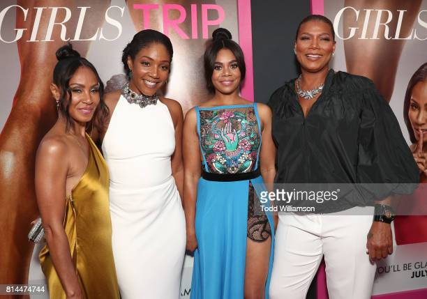 Jada Pinkett Smith Tiffany Haddish Regina Hall and Queen Latifah attend the Premiere Of Universal Pictures' Girls Trip at Regal LA Live Stadium 14 on...