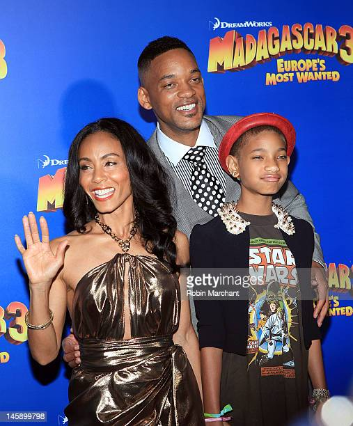 """Jada Pinkett Smith, Will Smith and Willow Smith attend the """"Madagascar 3: Europe's Most Wanted"""" premiere at the Ziegfeld Theatre on June 7, 2012 in..."""