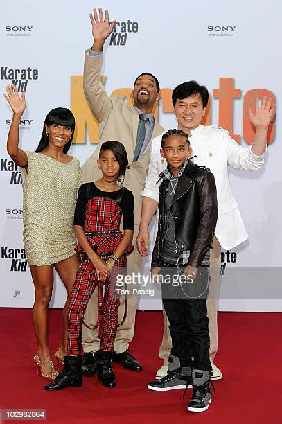 Jada Pinkett Smith Will Smith Willow Camille Reign Smith Jaden Christopher Syre Smith and Jackie Chan attend the 'Karate Kid' Germany Premiere at...