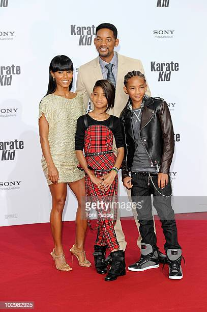 Jada Pinkett Smith Will Smith Willow Camille Reign Smith Jaden Christopher Syre Smith attend the 'Karate Kid' Germany Premiere at Sony Center...