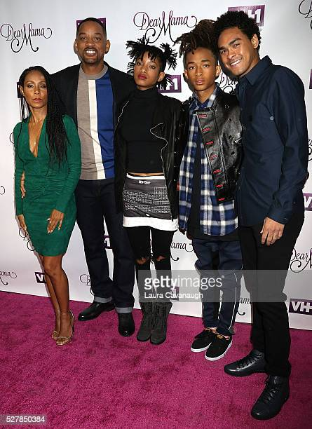 Jada Pinkett Smith Will Smith Willow Smith Jaden Smith and Trey Smith attend VH1's 'Dear Mama' Taping at St Bartholomew's Church on May 3 2016 in New...