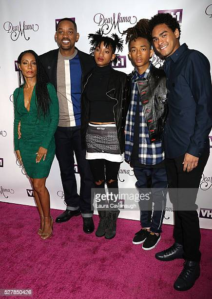 Jada Pinkett Smith Will Smith Willow Smith Jaden Smith and Trey Smith attend VH1's Dear Mama Taping at St Bartholomew's Church on May 3 2016 in New...