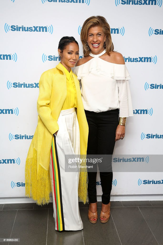 Jada Pinkett Smith with host Hoda Kotb during a leading ladies event for SiriusXM Today Show Radio at SiriusXM Studios on July 19, 2017 in New York City.