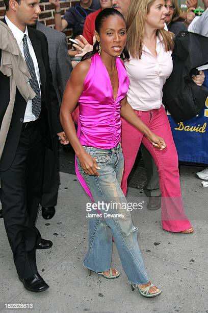 Jada PinkettSmith during Jada PinkettSmith and Jessica Simpson Visit the Late Show with David Letterman August 5 2004 at Ed Sullivan Theatre in New...