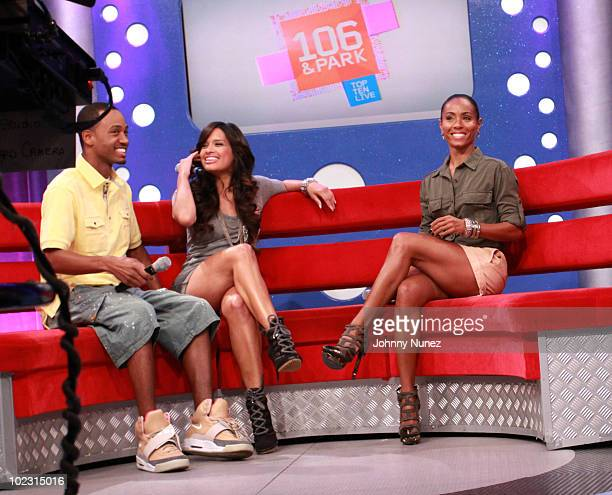 Jada PinkettSmith visits BET's 106 Park with hosts Rocsi and Terrence J at the BET Studios on June 21 2010 in New York City